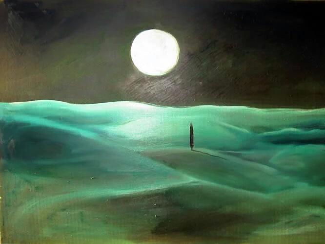 Omaggio alla luna – Poesie, frasi, citazioni, canzoni - Dipinto Luna piena