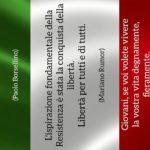 Festa della Liberazione - Immagine della bandiera italiana con frasi di Pertini, Rumor e Borsellino