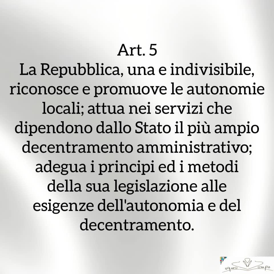Festa della Repubblica - Costituzione - Articolo 5